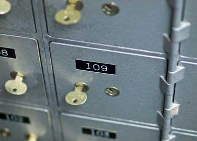 Safe Deposit Lockers - Safe storage for your valuables